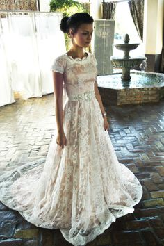 Maybelle by Elizabeth Cooper Design | lace | modest wedding dress | lace wedding dress | sleeves | a-line | full skirt | modest wedding dresses | utah | salt lake city | wedding gown | modest | rose | blush wedding dress | pink wedding dress | rust |