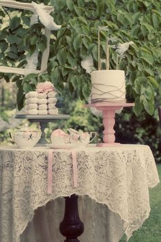 CAKE STANDS! Birds on the poles are good to stick into flowers and treats.