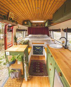 "The Van Nation on Instagram: ""🚎 😍⠀ 📸 via @julesandmarco⠀ ⠀ #vanlife #vanlifediaries #roadtrip #campervan #projectvanlife #homeiswhereyouparkit #buslife #ontheroad #rv…"" Green Cabinets, Bus Life, Van Living, Wood Accents, House On Wheels, Love At First Sight, Campervan, Your Style, Sweet Home"