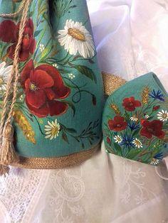 Maľovaná ľanová kabelka s rúškom Mobiles, Folk, Coin Purse, Purses, Wallet, Street, Fashion, Handbags, Moda