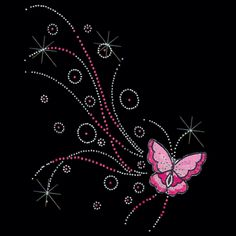 8x9  - BUTTERFLY FLYING-PNK (STN/EMB) - butterflies, butterfly, Embroidery, Fashion, ladies fashion, stones, Butterflies, Material Transfer