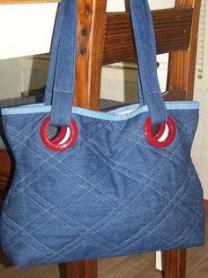 ON SALE/Quilted Dark Denim Tote Bag Purse