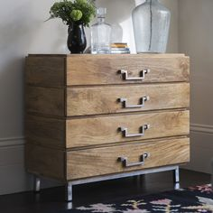 Beautifully handcrafted in solid mango wood this contemporary chest of drawers has clean lines and on trend iron handles to complete the look. Handmade Furniture, Unique Furniture, Contemporary Furniture, Home Furniture, Wooden Furniture, Accent Furniture, Furniture Makeover, Furniture Ideas, Bedroom Furniture