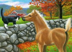 Tuxedo cat foal horse farm barn autumn fall landscape original aceo painting art #Realism by Bridget Voth Ebay ID star-filled-sky