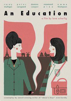 film posters, Esme Lonsdale Illustration, poster, film, an education, colour, illustration, type, design, 1960s