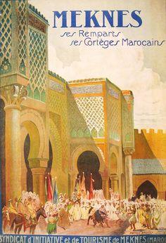 vintage travel poster for Meknes Morocco