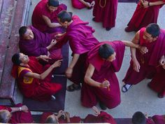 Jokhang Temple Monks Practicing Buddhist Dialectics
