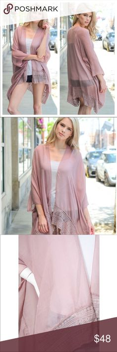 Just In❤ Dusty Rose Lace Trim Kimono Lace Border Trim Kimono with Armholes.   Available in colors: Dusty Rose, Rust & Black  Material: 65% Polyester, 35% Viscose.    ♥️NO TRADE ♥️  ❤️PRICE FIRM❤️ SoChic Sweaters