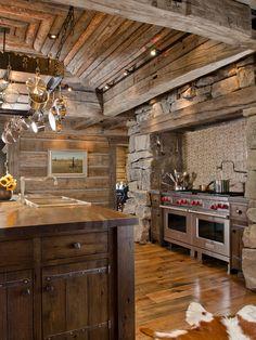 Village Style Ranch House Interior Design Ideas : Sleek Montana Ranch Kitchen Wooden Floor Open Storage