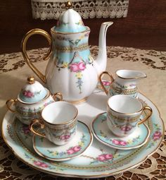 Vintage Porcelain Child's Tea Set with Gold Trim for Display with Antique Dolls! #VictoriasGarden