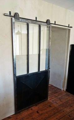 "Sliding door ""Atelier Type"" old-fashioned rail and diamond point Door Design, House Design, Garage Loft, Room Divider Doors, Diamond Point, Spa Rooms, House Inside, Types Of Doors, Barn Door Hardware"