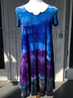 SMALL Ice Dye Tee Dress | Beach Cover Up Dress | Tie Dye Dress | Tee Shirt Dress | Casual Colorful Dress | Tshirt Dress | Tie Dye Tunic