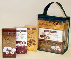 12 pack Assorted Snack Boxes - 4 each Mini Mele Macs, Chocolate covered Macadamia Nuts and Chocolate covered Coffee Beans.