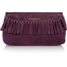Burberry - Fringed Suede Clutch (13.215 ARS) ❤ liked on Polyvore featuring bags, handbags, clutches, grape, suede fringe purse, burberry pochette, suede purse, purple suede handbag and fringe purse