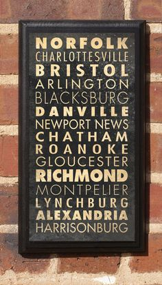 Cities of Virginia Subway Scroll Vintage Style Wall Plaque. $27.00, via Etsy.