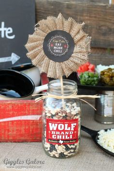 Chili Party Decorations | The Ultimate Chili Bar with Wolf Brand Chili - Giggles Galore