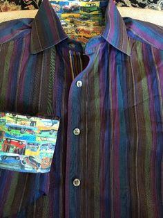 Men ROBERT GRAHAM Purple Blue Brown Striped Medium Shirt  Cars  | eBay