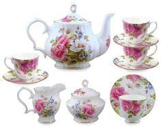 Amazon.com: Gracie Bone China 11-Piece Tea Set, Pink Grace's Rose: Kitchen & Dining