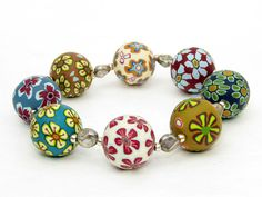 Millefioriperlen Polymer clay, bracelet, Armband, Perlen,  beads, fimo, Fimoperlen von, filigran-Design   auf DaWanda.com