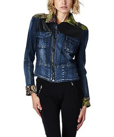 Blue & Green Snakeskin Denim Jacket