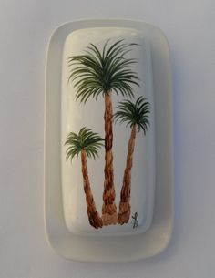 Palm Tree Butter Dish Hand Painted Palm by LisasPaintedCrafts