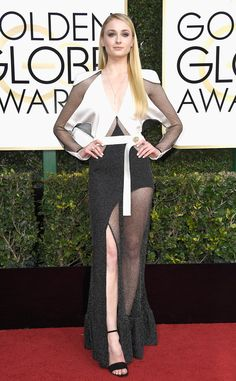 Sophie Turner from Best Dressed at Golden Globes 2017  There will be plenty in favor and against the Game of Thrones star's dress, but we applaud her boldness to step out of the typical sparkly, mermaid-style box. Plus, the sheer detailing on this gown is impeccably tailored.