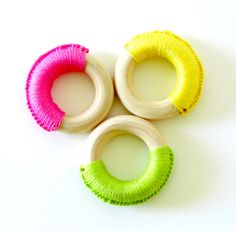 Natural Wooden #TeethingRings Set of 3  Neon by #FairyOfColor, $12.00
