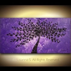 Purple Black Tree Landscape Modern Palette Knife Impasto Painting by Susanna