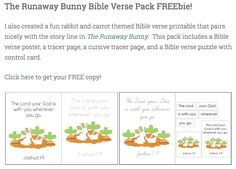 BFIAR - The Runaway Bunny Bible Verse Printable Pack FREEbie!  Visit www.littlearninglane.com to learn more!