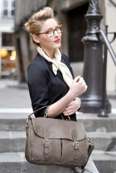 Glasses and bold lip. Yes and yes.