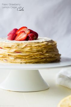Strawberry Lemon Paleo Crepe Cake with Coconut Cream - This cake is made out of paleo crepes layered with rich, sweet lemon coconut cream and fresh strawberries. It's a gluten free dessert, that's perfect for a spring brunch or Mothers day! Paleo Sweets, Paleo Dessert, Gluten Free Desserts, Cupcake Recipes, Cupcake Cakes, Dessert Recipes, Paleo Recipes, Breakfast Recipes, Flour Recipes