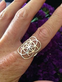 Sterling Silver Petite Seed of Life Ring, Sacred G Geometry Tribal Elegance