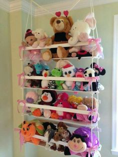 Clever Ideas For Storing Stuffed Animals Storage and Organization In my previous article, I discussed the reasons you should purchase storage stuffed animals. These are toys that are placed in various locations for u. Organizing Stuffed Animals, Storing Stuffed Animals, Stuffed Animal Storage, Stuffed Toys, Girl Room, Girls Bedroom, Baby Room, Bedrooms, Diy Room Decor