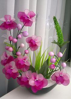 Beautiful stocking flowers and beads.