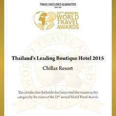 Another mile stone to romantic chill out resort of Bangkok!!! Chillax resort has been recognized as the Thailand's Leading Boutique Hotel by the World Travel Awards team. The World Travel Awards brand is recognized globally as the ultimate hallmark of quality. This would not have been possible without the support of our esteemed guests & travel partners  Thank you so much.We are truly ecstatic & humbled by this support true inspiration to work harder and set higher and higher standards…