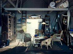 Denise Grünstein - I'm officially a fan! Cool Garages, Shaker Furniture, Interior Architecture, Interior Design, Dark House, Dutch Door, Loft Spaces, Colour Schemes, Room Inspiration