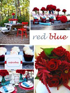 ARTοποιείν decoration store γάμος βάπτιση: Τολμηρό κόκκινο και έντονο μπλε για γάμο