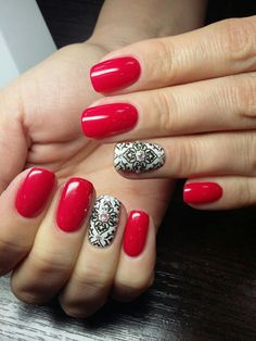Beautiful new year's nail, Birthday nails, Evening short nails, Manicure on the day of lovers, Nail designs with pattern, New year nails ideas 2017, Red and white nails, Red oval nails