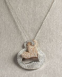 Pave Heart Necklace by Roberto Coin at Neiman Marcus.