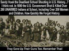 Exactly like the American Indian, that after their warriors were killed, had their land taken away from them and were placed in reservations by our government during the nineteenth century. Likewise that same government, much bigger now, wants to confiscate all our private property and put us all in NDAA gulags. Establishing the groundwork for the UN's Agenda 21, of socialism on a global scale. It is always different when the bad things are happening to someone else.