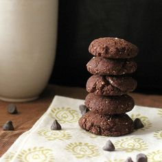 Easiest ever Dark Chocolate Crinkle Cookies - crunchy, no refined oil, no dairy, no eggs, and soy free