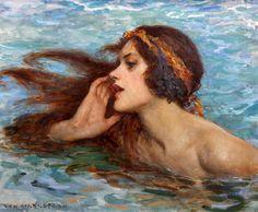 William Henry Margetson (British, 1861-1940) A water sprite or siren