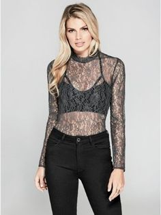 GUESS by Marciano Women's Mariah Long-Sleeve Lace Top