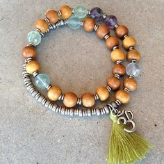New style! Introducing tassels to our collection! Sandalwood and Fluorite 27 bead wrap mala bracelet™ – Lovepray jewelry