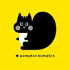 Squirrel, pumpkin bumpkin #illustration #painting #drawing #art #design