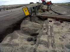 Damage to NC 12 on Hatteras Island caused by Hurricane Arthur. :: Outer Banks :: Photo by NCDOT 2014 Roanoke Island, Outer Banks Nc, Outer Banks Vacation Rentals, Hatteras Island, North Carolina, Places To Travel, Seaside, Tropical, Hurricane Arthur