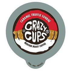 Crazy Cups Caramel Truffle Sandae Flavored Coffee Single Serve cups for Keurig K-cup Brewer, 22 Capsules 0.45oz(13g) each, Net Wt - 10.1oz(286g) - http://teacoffeestore.com/crazy-cups-caramel-truffle-sandae-flavored-coffee-single-serve-cups-for-keurig-k-cup-brewer-22-capsules-0-45oz13g-each-net-wt-10-1oz286g/