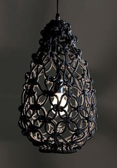 Melburne, Australia-based Smalltown creates a dazzling array of modern macramé products and installations. Shown above is the Knotted Egg Light.