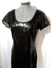 Nwt STITCHbtween SEQUIN Dress womens S,M Black scoop neck A-line formal Party SS