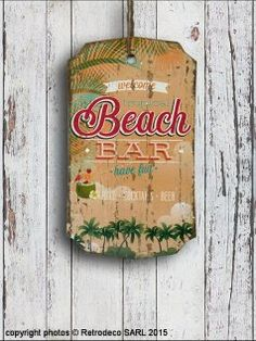 Plaque bois Beach Bar, déco bord de mer, Sphere Inter